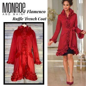 Just In!NWT Monroe &Main Flamenco Ruffle Trench XL